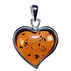 Pendentif ambre et argent cœur moderne