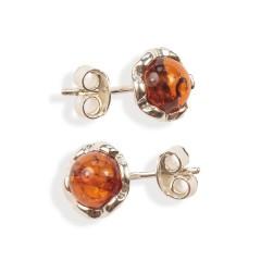 Boucles d'oreilles ambre et argent Sylta