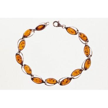Bracelet ambre et argent Angélina