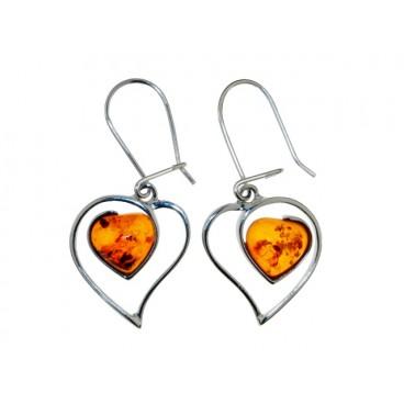 Boucles d'oreilles ambret argent Double Cœur