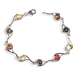 Bracelet ambre et argent Glitter multicolore