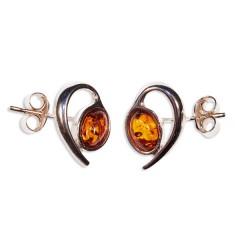 Boucles d'oreilles ambre et argent Théo
