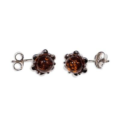 Boucles d'oreilles ambre et argent Fleur