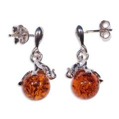 Boucles d'oreilles ambre et argent Siwa