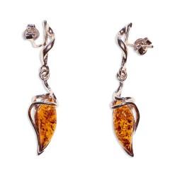 Boucles d'oreilles ambre et argent Délia