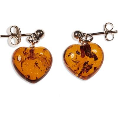 Boucles d'oreilles ambre et argent cœur
