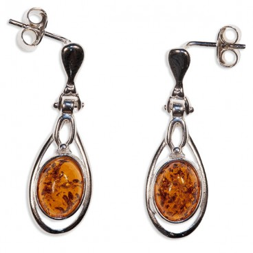 Boucles d'oreilles ambre et argent Marijo