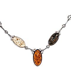 Collier ambre et argent Anaeg multicolore