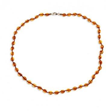Collier ambre petites olives cognac 43 cm