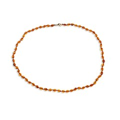 Collier ambre petites olives cognac 53 cm