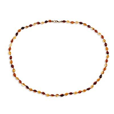 Collier ambre petites olives multicolores 53 cm