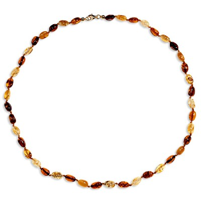 Collier ambre petites olives multicolores 43 cm