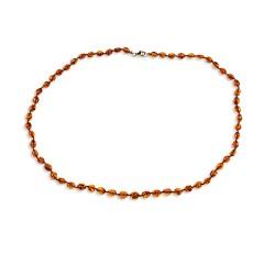 Collier ambre olives cognac 58 cm