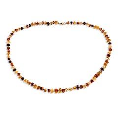 Collier ambre taille pavés multicolore
