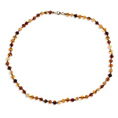 Collier ambre petites perles multicolores 43 cm