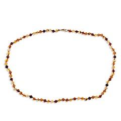 Collier ambre petites perles multicolores 53 cm