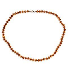 Collier ambre petites perles couleur cognac 45 cm