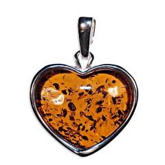 Pendentif ambre et argent cœur classique
