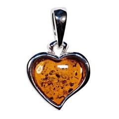Pendentif ambre et argent petit cœur moderne