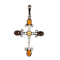 Pendentif ambre et argent croix multicolore