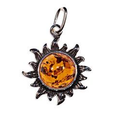Pendentif ambre et argent soleil petit modèle