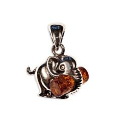 Pendentif ambre et argent Eléphant avec bûche