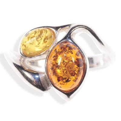 Bague ambre et argent Orchidée