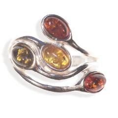 Bague ambre et argent Virevolte multicolore