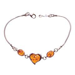 Bracelet ambre et argent cœur et ovales