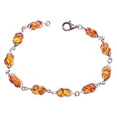 Bracelet ambre et argent Volière
