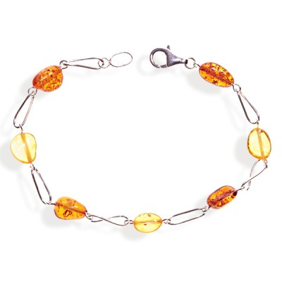 Bracelet ambre et argent Sunshine