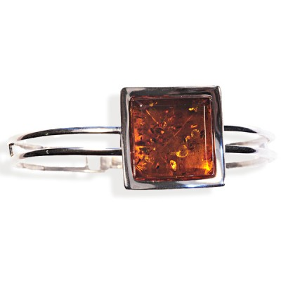 Bracelet ambre et argent Solveig