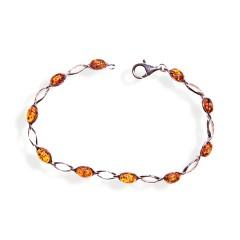 Bracelet ambre et argent Lisa