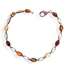 Bracelet ambre et argent Lisa multicolore