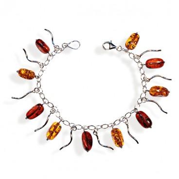 Bracelet ambre et argent Zoya