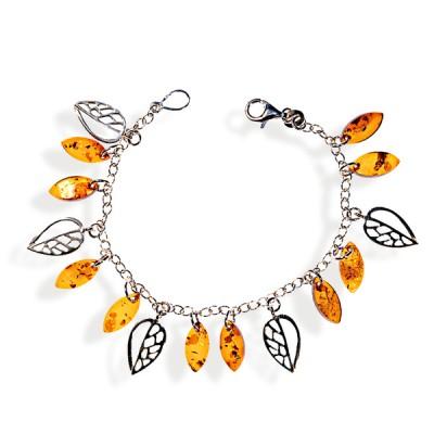 Bracelet ambre et argent Natika