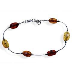Bracelet ambre et argent Lolita