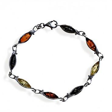 Bracelet ambre et argent Automne multicolore