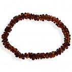 Bracelet ambre taille pavés cognac sans fermoir