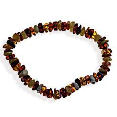 Bracelet ambre taille pavés multicolore sans fermo...