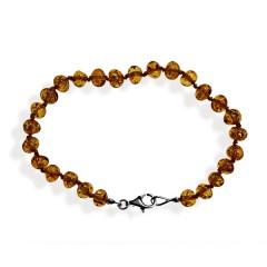 Bracelet ambre perles cognac
