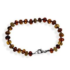 Bracelet ambre perles multicolores