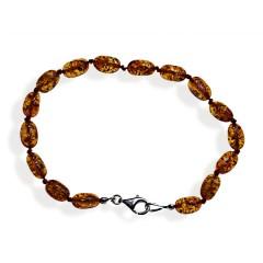 Bracelet ambre olives cognac