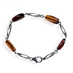 Bracelet ambre et argent Youta