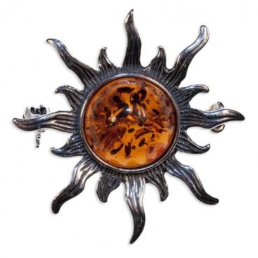 Broche ambre et argent Soleil
