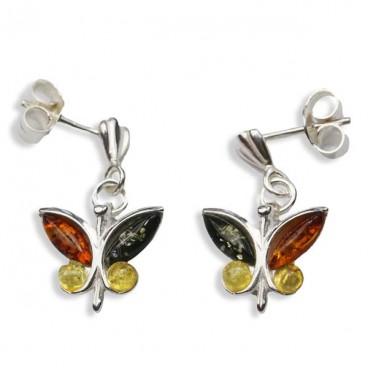 Boucles d'oreilles ambre et argent Papillons Multicolores