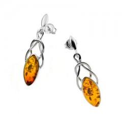 Boucles d'oreilles ambre et argent Celtic