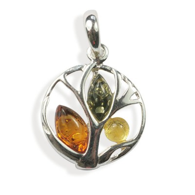 bddacee5a15 Pendentif ambre et argent Arbre multicolore