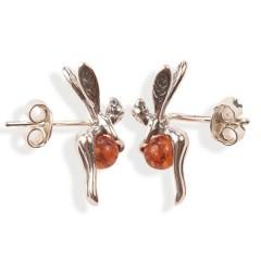 Boucles d'oreilles ambre et argent Mini fées