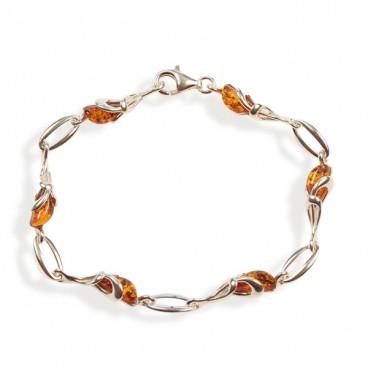 Bracelet ambre et argent Olympe